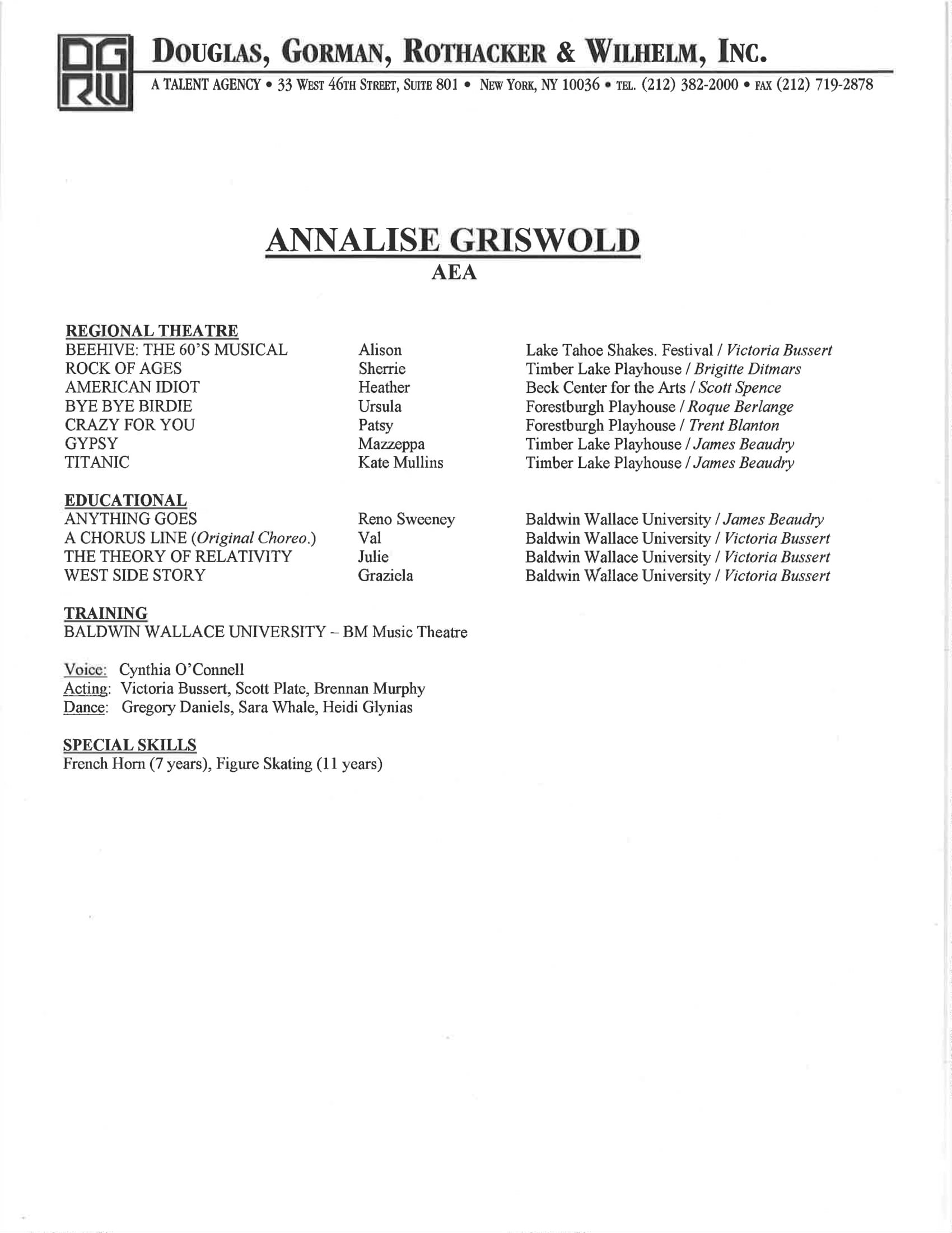 Resume Annalise Griswold